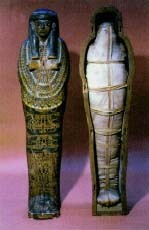 An Egyptian mummy dating from about 1000 B.C., that shows the outer decoration of the coffin and wrapped body inside. The Bridgeman Art Library