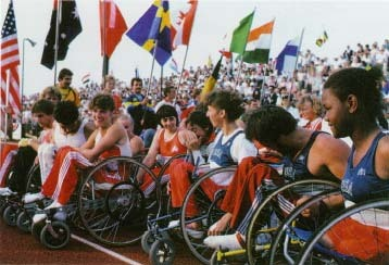 Hundreds of wheelchair racers gather for the International Games for the Disabled, 1984. Peter Arnold, Inc.
