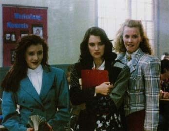 Heathers (1989) portrays a high school in which three girls, all named Heather, use their status as most popular to manipulate and ridicule other students. Veronica (center, played by Winona Ryder) finds herself caught between the Heathers and a rebellious loner at school who seeks revenge on them. Photofest