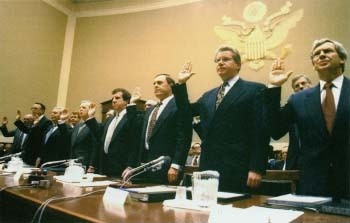 On April 14, 1994, top executives from Philip Morris, RJ Reynolds, and other major cigarette companies testified before a federal court about the addictive nature of nicotine. The tobacco industry also came under attack for targeting children and teens in their ad campaigns. In response, anti-smoking regulations have restricted cigarette sales and the ways in which cigarette companies can market their product. AP/Associated Press