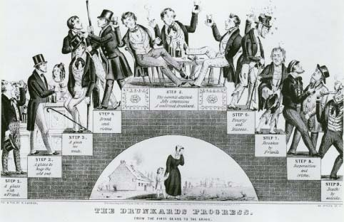 Nathaniel Currier's lithograph The Drunkards Progress: From the First Glass to the Grave was published in 1846. The Library of Congress/Photo Researchers, Inc.